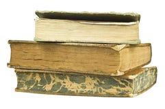 Drie gestapelde oude boeken Stock Afbeeldingen