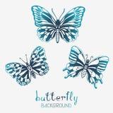 Drie Gestileerde Vlinders Stock Afbeelding