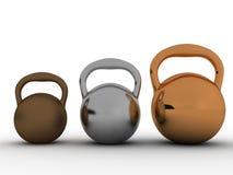 Drie gewichten worden gemaakt ââof tot brons â1 Stock Afbeeldingen
