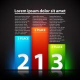 Drie glanzende kleurrijke banners in de vorm van een voetstuk Royalty-vrije Stock Afbeelding