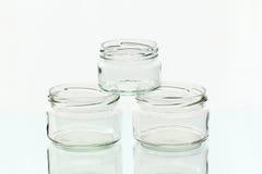Drie glaskruiken Royalty-vrije Stock Afbeelding
