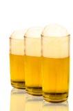 Drie glazen bier Stock Foto
