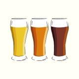 Drie glazen bier Royalty-vrije Stock Foto's