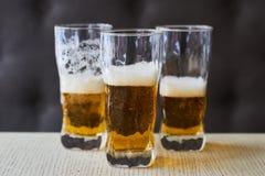 Drie glazen licht bier Stock Afbeeldingen