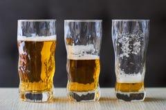 Drie glazen licht bier Royalty-vrije Stock Foto