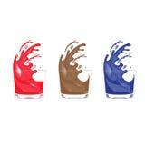 Drie glazen met colourfull splasches Royalty-vrije Stock Foto