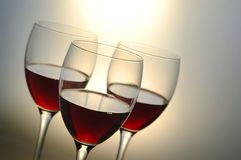 Drie glazen met rode wijn Royalty-vrije Stock Afbeeldingen