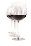 Drie Glazen Rode Wijn Stock Foto