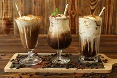 Drie glazen verschillende koude koffiedranken Royalty-vrije Stock Foto