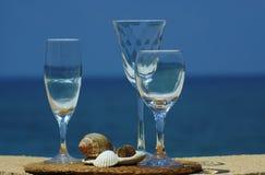 Drie glazen wijn Stock Foto's