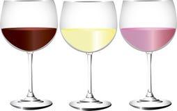 Drie glazen wijn Royalty-vrije Stock Fotografie