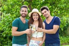 Drie glimlachende vrienden die met champagne vieren Royalty-vrije Stock Foto's