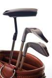Drie golfclubs in een zak Royalty-vrije Stock Afbeeldingen