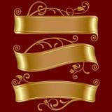 Drie gouden banners Stock Afbeeldingen
