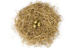 Drie gouden eieren Stock Foto
