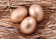 Drie gouden eieren op het nest Royalty-vrije Stock Foto's