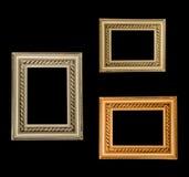 Drie gouden frames Stock Foto