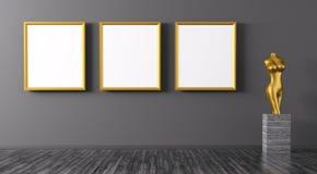 Drie gouden kaders en beeldje binnenlandse 3d renderi als achtergrond stock illustratie
