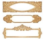 Drie Gouden In reliëf gemaakte Frames Stock Foto's