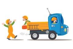 Drie grappige arbeiders en vrachtwagen Royalty-vrije Stock Afbeeldingen