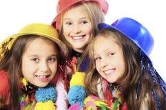 Drie grappige Carnaval-jonge geitjes royalty-vrije stock foto's