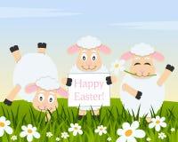 Drie Grappige Lammeren die Gelukkige Pasen wensen stock illustratie