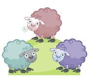 Drie grappige schapen stock illustratie