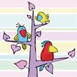 Drie grappige vogeltjes Stock Foto