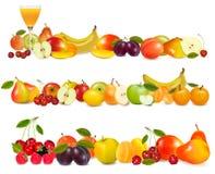Drie grenzen van het fruitontwerp die op wit worden geïsoleerdo. Royalty-vrije Stock Afbeeldingen