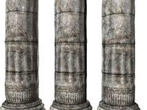 Drie Griekse Kolommen Stock Afbeeldingen