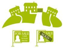 Drie groene huizen Royalty-vrije Stock Afbeelding