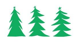 Drie groene Kerstbomenillustratie stock illustratie