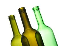Drie groene lege flessen Stock Fotografie