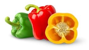 Drie groene paprika's Royalty-vrije Stock Foto's