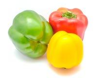 Drie Groene paprika's Stock Foto's