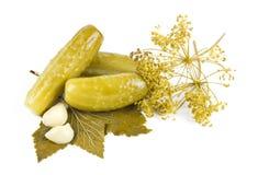 Drie groenten in het zuur Stock Afbeeldingen