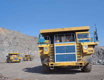 Drie grote vrachtwagens Stock Foto
