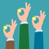 Drie handen met muntstukken royalty-vrije illustratie