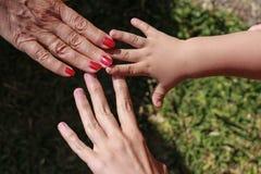 Drie handen van familie: zoon, moeder en grootmoeder stock afbeeldingen
