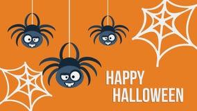 Drie hangende spinnen Vector illustratie Royalty-vrije Stock Fotografie