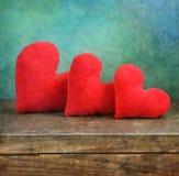 Drie harten Royalty-vrije Stock Afbeeldingen