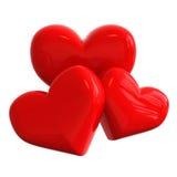 Drie harten Stock Afbeeldingen