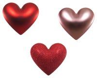 Drie harten van de Valentijnskaart Stock Afbeeldingen