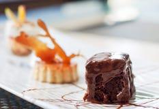 Drie heerlijke desserts Stock Foto