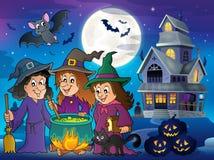 Drie heksen als thema hebben beeld 6 vector illustratie