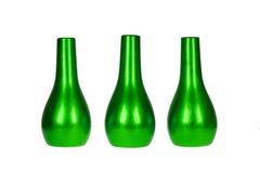 Drie heldergroene geïsoleerde vazen Stock Afbeelding