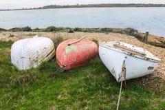Drie het roeien boten Royalty-vrije Stock Afbeelding
