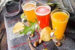 Drie hete fruittheeën stock afbeeldingen