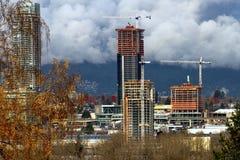 Drie high-rises in aanbouw stock afbeelding