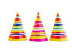 Drie hoeden voor verjaardagspartij Stock Foto